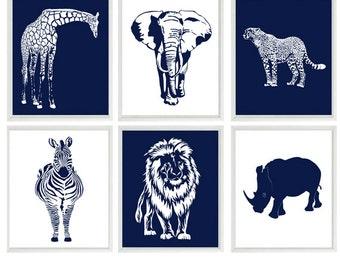 Safari Nursery Wall Art, Baby Boy Nursery, Navy Blue, White, Elephant, Giraffe, Lion, Cheetah, Zebra, Rhino, Safari Prints, Modern Nursery