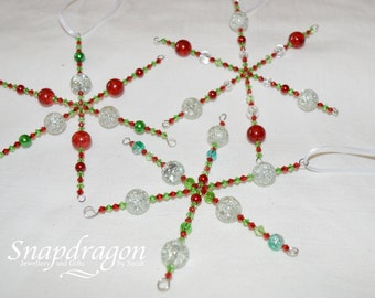 Set of 3 beaded red and green Christmas snowflakes - set 3