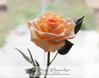 Peach Rose - Polymer Clay Flowers - Mothers Day Gift for Women Gift for Her Rose Orange Rose Floral Arrangements Polymer Flower