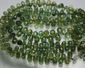 54 Carats,7 Inch Strand,Super Finest Quality,AAA GREEN Apatite Faceted Drops Briolettes,Size 4.5-8mm