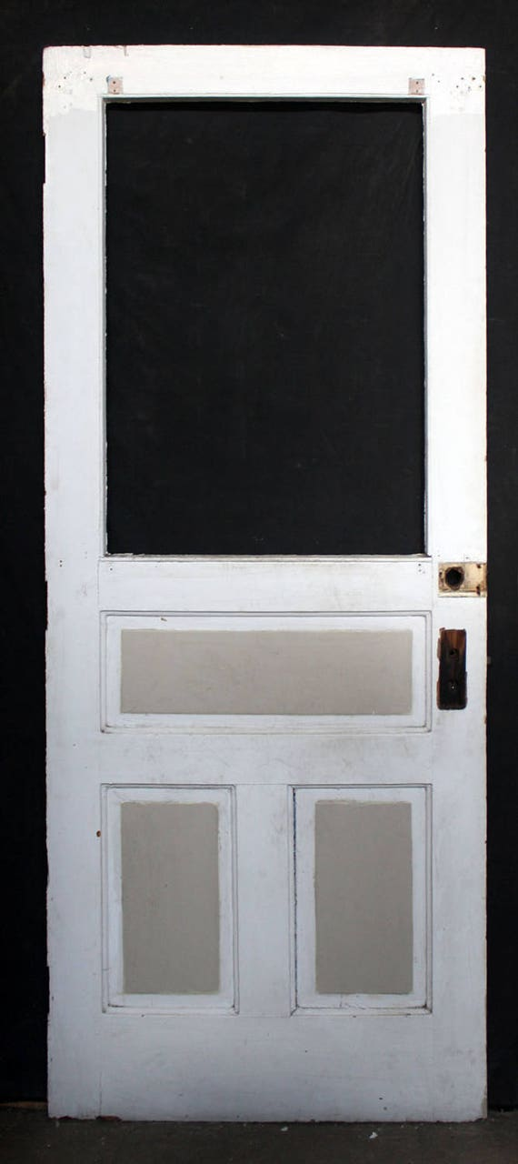 32 x79 antique vintage solid wood wooden exterior back for Solid wood exterior back doors