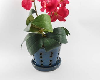 Ceramic orchid pot - orchid cachepot - pottery orchid pot - blue orchid pot - orchid planter  V163