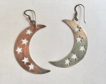 vintage sterling crescent moon with star earrings