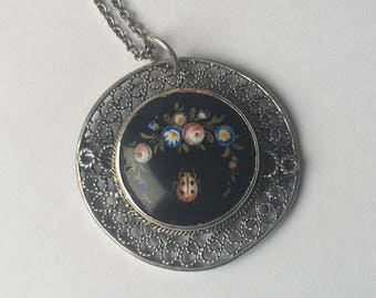vintage spun silver and hand painted flower and ladybug pendant