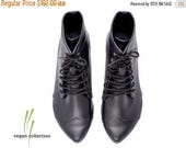 ON SALE handmade Vegan black flat Boots boots / Vegan High Polly-Jean black Boots by Tamar Shalem