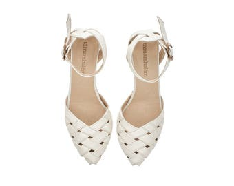 Brides shoes, Milk white Heeled Sandals, Rose, leather shoes