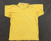 Vintage Faded Yellow Cotton Crew Neck T-Shirt: C-065