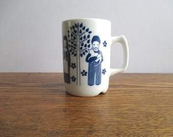 Vintage Porsgrund White and Blue Mug