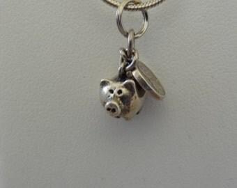 Old Sterling Piggy Bank & Penny Charm Bracelet Charm