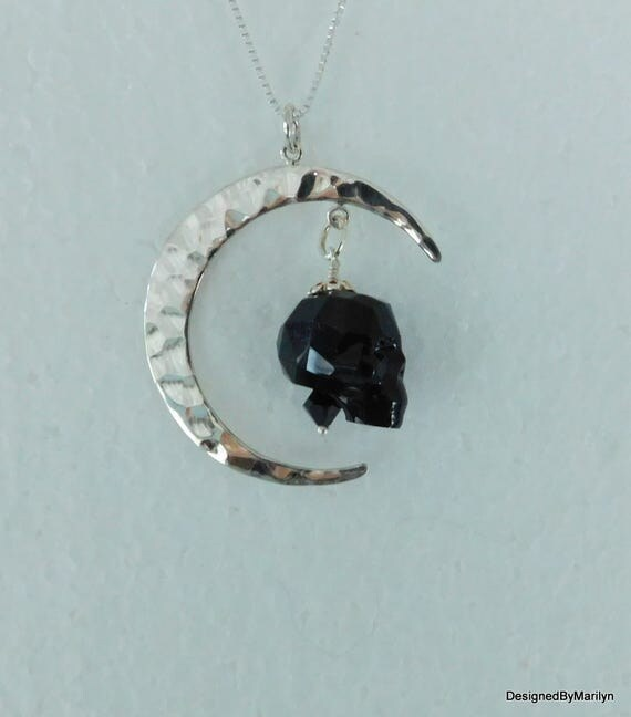 Sterling silver Swarovski crystal skull necklace, black skull jewelry, celestial necklace, moon and skull