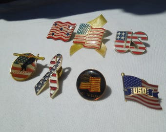 USA Flag Pins, Lapel Pins, Patriotic Pins, Lot of 7, Will Separate