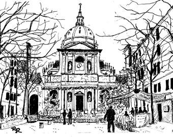 Historic European Cathedral, historic landmark, Original pen and Ink drawing, watercolor optional