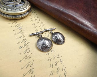 Genuine 1957 Sixpence Coin Domed Cufflinks With Soldered Sterling Silver Chain Backs 60th Birthday Gift