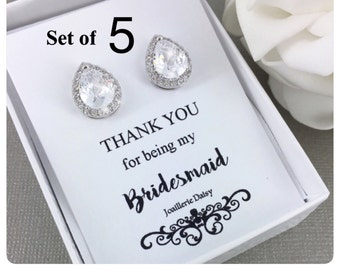 Bridesmaid Earrings Set of 5, Stud Earrings, Cubic Zirconia Stud Earrings, Sterling Silver Earrings, Bridesmaid Gift, Bridesmaids Earrings