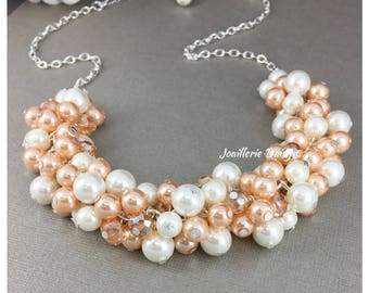 Peach Pearl Cluster Necklace Peach Necklace Chunky Jewelry Bridesmaids Necklace Bridesmaid Gift Maid of Honor Gift for Her