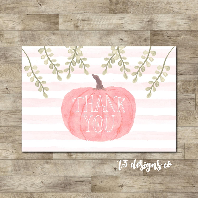 Little Pumpkin thank you card, pink pumpkin thank you, watercolor ...