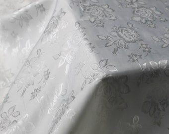 White Floral Jacquard Brocade Satin Fabric By the Yard Style 3006