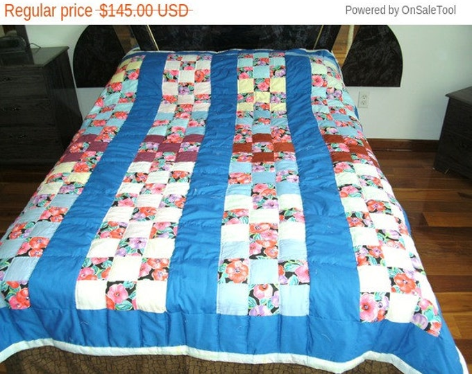 Sale: Blue Flower Nine Patch Bed Quilt or Bed Cover that will fix a full size bed