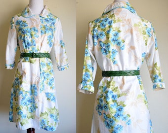 Vtg 1970s Floral Shirt Dress Morning Glory White Button Down Pajama Robe Opera Coat Contrast Piping Lana Del Rey Small