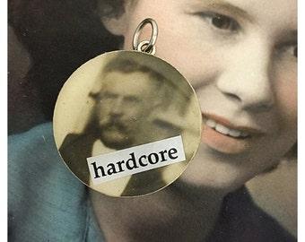 Vintage Upcycled Checker Photobomb Jewelry Pendant Charm - Hardcore