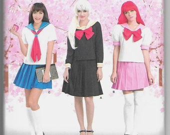 8160 Simplicity Anime Schoolgirl Costume Sewing Pattern Sizes 14-22