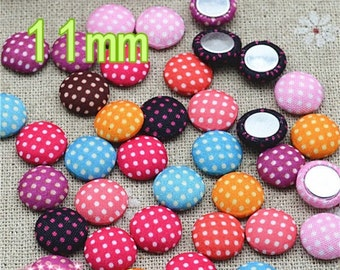 11mm 50-pcs diy polka dot flatback round fabric button