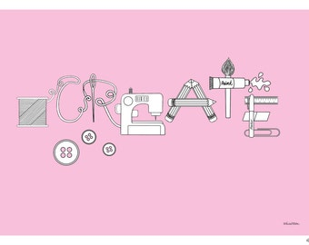 Pink Create Word Art Print, Makers Creative Word Print, Craft Room Decor, Sewing Stationery Art, Maker Illustration, Craft Studio Art Print
