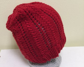 Red Winter Wool Hand-Knit Slouchy Hat