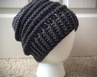 Men's Women's dark grey Slouchy crocheted hat