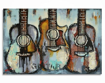 Guitar painting Gift for a musician Music Art Original large textured acoustic guitar painting on 36x24 inch canvas, MADE TO ORDER
