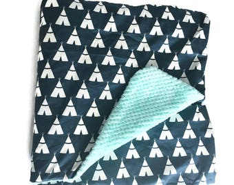 BLOW OUT SALE- xl Boys Blanket, Crib Bed Blanket, Tipi Blanket, Toddler Bed Blanket, Teepee Blanket by BizyBelle *Ready To Ship
