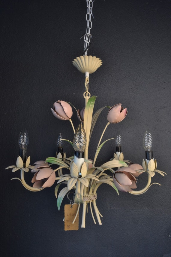 Large Tole flower chandelier with tulips