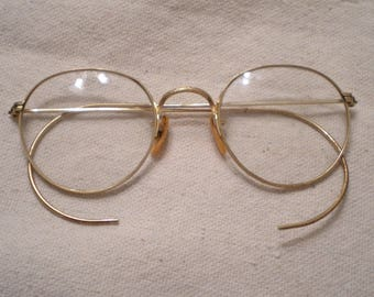 bausch and lomb vintage gold wire rim eyeglasses eye frames engraved gold filled boho chic john lennon unique beautiful eye wear 2 pair