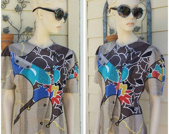 Vintage 80s colorful blouse top by Leeyee Fashion