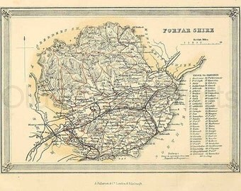 Forfar Shire c.1857 - Antique Scottish County Map of Forfar - 8 x 11 ins PRINT - FREE P&P UK