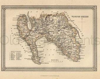 Wigton Shire c.1857 - Antique Scottish County Map of Wigton - 8 x 11 ins PRINT - FREE P&P UK