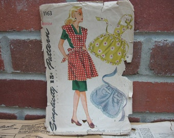 1944 apron sewing pattern simplicity 1163 medium full half 1940s