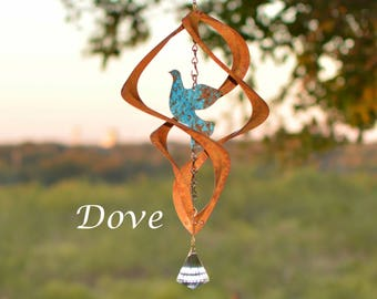 BreezeWay Dove Wind Spinner | Garden Copper Wind Art w/ Patina Coloring & Crystal Suncatcher | 2 Sizes | Solid Copper | Handcrafted in TX