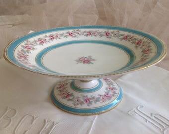 Lovely antique shabby cottage Copeland pink roses cake pedestal dish