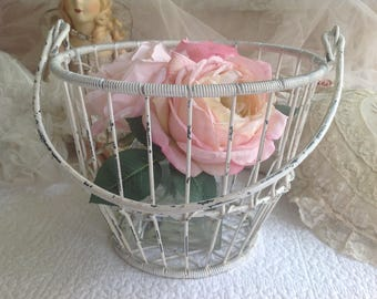 Chippy white wire Shabby Chic cottage farmhouse basket