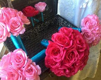 Hot Pink & Light Pink Rose 17 Piece Wedding Bouquet Flower Set, Hot Pink Bridal Bouquet, Hot Pink Rose Bouquet Hot Pink Wedding Bouquet