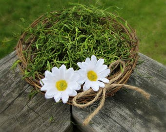 White Daisy Centerpiece, Twig Birds Nest Decor Centerpiece, Daisy Wedding Decor, Rustic Farmhouse Country Spring Summer Wedding Decoration