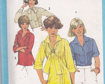 Simplicity 8209 Vintage Pattern Womens Button Up Top in 4Variations Size 12 bust 34 UNCUT