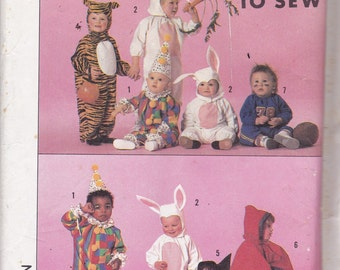 Simplicity 9331 Vintage Pattern Baby-Toddler Costume - Tigher,Bunny, Clown, Witch, Football, Devil, Size 6 mo - 18 mo (13 - 24 Pounds) UNCUT