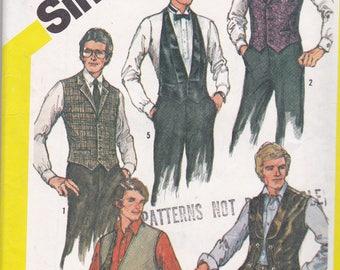 Simplicity 5780 Vintage Pattern Mens Lined Vests in 5 Variations Size 48 UNCUT