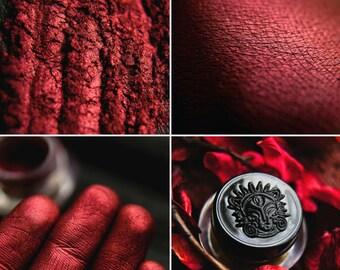 Eyeshadow: Sunset Warden - Nomad. Red-deep burgundy metallic eyeshadow by SIGIL inspired.