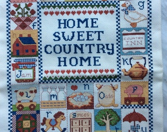 17X13 Home Sweet Country Home Kitchen, Cross Stitch Embroidery