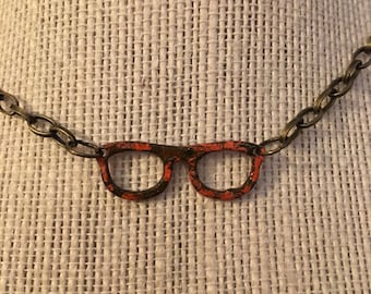 "14"" Brown&Orange Glasses Necklace"