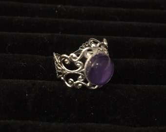 10mm Purple Filigree Adjustable Ring