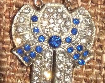 Blue Rhinestone Vintage Dress Clip Necklace